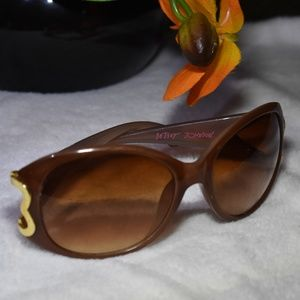 Vintage Betsey Johnson Brown Oval Heart Sunglasses